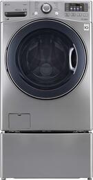 "DLEX3570V 27"" 7.4 Cu. Ft. Ultra Capacity Front Load Steam Graphite Steel Electric Dryer with WDP4V Pedestal"