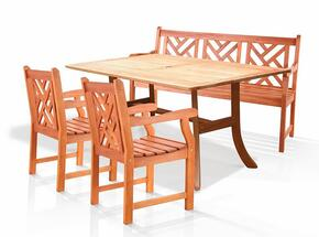 V187SET1 Outdoor Eucalyptus Dining Set with Bench, 2 Chairs, and Table