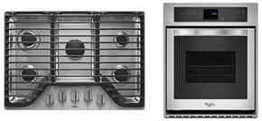 "2-Piece Kitchen Package with WCG97US0DS 30"" Gas Cooktop and WOS51EC7AS 27"" Electric Single Wall Oven in Stainless Steel"