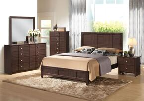 Racie 21940Q5PC Bedroom Set with Queen Size Bed + Dresser + Mirror + Chest + Nightstand in Merlot Finish