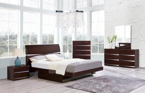 Aurora Collection AURORA-W-QBSET 5-Piece Bedroom Set with Queen Size Storage Bed, Dresser, Mirror, Nightstand and Chest in Wenge