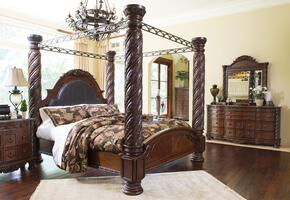 North Shore King Bedroom Set with Poster Bed, Dresser and Mirror in Dark Brown