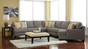 Chamberly 243005RCDSSACO2ETR2L 7-Piece Living Room Set with 5PC Right Cuddler Sectional, Accent Ottoman, 2 End Tables, Rug and 2 Lamps in Alloy