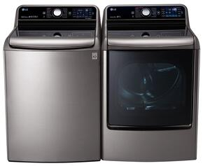 "Graphite Steel Top Load Laundry Pair with WT7700HVA 29"" 5.7 Cu. Ft. Washer and DLGX7701VE 9.0 Cu. Ft. Capacity Gas Dryer"