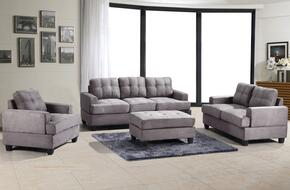 G513ASET 3 PC Living Room Set with Sofa + Loveseat + Armchair in Grey Color
