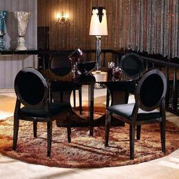 VGUN89295PCSET Armani Xavira Collection 5 Piece Round Dining Set (Table and 4 Side Chairs) in Black