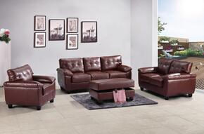 G900ASET 4 PC Living Room Set with Sofa + Loveseat + Armchair + Ottoman in Brown Color