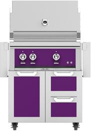 "30"" Freestanding Natural Gas Grill with GCR30PP Tower Grill Cart with Double Drawer and Door Combo, in Lush Purple"