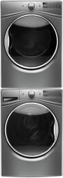 """Chrome Shadow WFW9290FC 27"""" Front Load Washer with WED92HEFC 27"""" Electric Dryer and W10869845 Stacking Kit"""