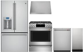 "5-Piece Stainless Steel Kitchen Package with CFE28USHSS 36"" French Door Refrigerator, CGS986SELSS 30"" Slide In Gas Range, CV936MSS 30"" Wall Mount Hood, CDT865SSJSS 24"" Dishwasher, and UCG1680LSS 15"" Trash Compactor"