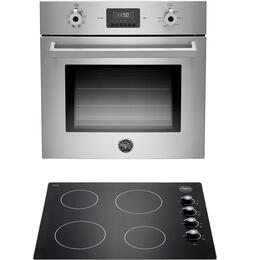 "Professional 2-Piece Stainless Steel Compact Kitchen Package with F24PROXV 24"" Single Wall Oven and P244CERNE 24"" Electric Cooktop"