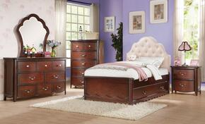 Cecilie 30265F6PC Bedroom Set with Full Size Bed + Dresser + Mirror + Chest + Nightstand + Trundle in Cherry Finish