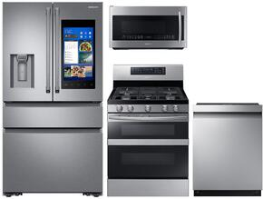 "4-Piece Stainless Steel Kitchen Package with RF23M8590SR 36"" French Door Refrigerator, NX58M6850SS 30"" Gas Range, DW80M9550US 24"" Fully Integrated Dishwasher and ME21K7010DS 30"" Over-the-Range Microwave"