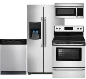 """4-Piece Stainless Steel Kitchen Package with FFHS2622MS 36"""" Side-by-Side Refrigerator, FFEF3024RS 30"""" Electric Range, FFBD2411NS 24"""" Full Console Dishwasher, FFMV164LS 30"""" Over-the-Range Microwave"""