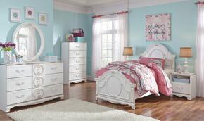 Korabella Twin Bedroom Set with Panel Bed, Dresser, Mirror, Two Night Stands and Chest in White Finish