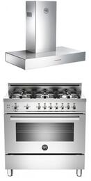 "Stainless Steel 2-Piece Kitchen Package With PRO366GASXLP 36"" Professional Series Gas Freestanding Range and K36CONX 36"" Wall Mount Canopy Range Hood"
