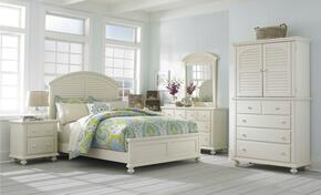 Seabrooke 4471KPB2NMCDM 6-Piece Bedroom Set with King Panel Bed, 2 Nightstands, Media Chest, Dresser and Mirror in Cream Finish