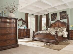 Ledelle Collection King Bedroom Set with Poster Bed, Dresser, Mirror and Chest in Dark Cherry