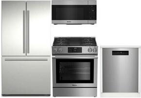 "4-Piece Kitchen Package with BRFD2230SS 30"" Counter Depth French Door Refrigerator, BGR30420SS 30"" Slide-in Gas Range, BOTR30100SS 30"" Over-the-Range Microwave oven and DWT25502SS 24"" Built In Full Console Dishwasher in Stainless Steel"