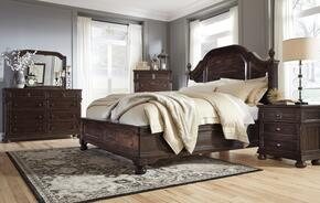 Gerlane Queen Bedroom Set with Poster Bed, Dresser, Mirror and a Single Nightstand in Dark Brown