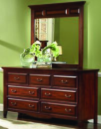 6740-050-6740-060 Drayton Hall Seven Drawer Dresser with Mirror, in Bordeaux