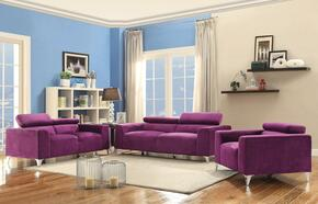 G335SET 3 PC Living Room Set with Sofa + Loveseat + Armchair in Purple Color