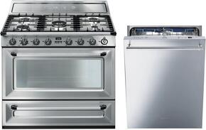 "2-Piece Stainless Steel Kitchen Package with TRU90X 36"" Dual Fuel Range and STU8647X 24"" Fully Integrated Dishwasher"