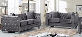 Reese Collection 648-GRY-S-L 2 Piece Living Room Set with Sofa and Loveseat in Grey