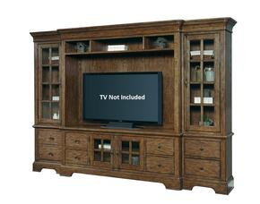 American Attitude 8854167SET 4 PC Entertainment Center with Left Pier + Right Pier + Console + Console Deck in Medium Wood Finish