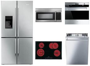 """5-Piece Kitchen Package with FQ75XPEDU 36"""" French Door Refrigerator, S2772TCU 30"""" Electric Cooktop, SOU330X1 30"""" Electric Single Oven, OTR316XU 30"""" Microwave and STU8649X Built In Dishwasher in Stainless Steel"""