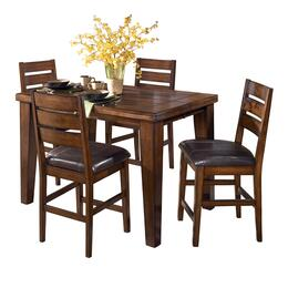 D44232124 Larchmont Butterfly Leaf Pub Table with Four Barstools, Two-Sided Taper Shape Legs, Thick Built-Up Edge and Solid Hardwoods in Dark Brown