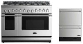 "2 Piece Stainless Steel Kitchen Package With RGV2488L 48"" Gas Freestanding Range and Free DD24DV2T7 24"" Drawers Dishwasher"