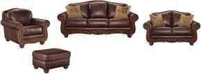 Dexter Collection MI-2203SLCO-WALN 4-Piece Living Room Set with Sofa, Loveseat, Living Room Chair and Ottoman in Walnut