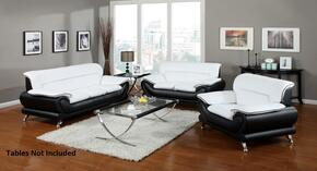 Orel 50455SLC 3 PC Living Room Set with Sofa + Loveseat + Chair in White and Black Color