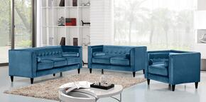 Taylor Collection 717705 3 Piece Living Room Set with Sofa + Loveseat and Chair in Light Blue
