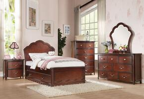 Cecilie 30270T6PC Bedroom Set with Twin Size Bed + Dresser + Mirror + Chest + Nightstand + Trundle in Cherry Finish