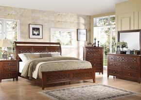Carmela 24777EK5PC Bedroom Set with Eastern King Size Bed + Dresser + Mirror + Chest + Nightstand in Walnut Finish