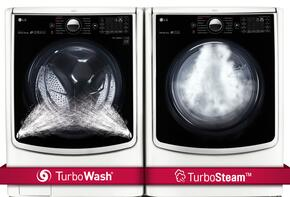 "TwinWash White Front Load Laundry Pair with WM9000HWA 29"" Washer and DLGX9001W 29"" Gas Dryer"