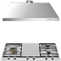 "2-Piece Stainless Steel Kitchen Package with PM3630GX 36"" Segmented Gas Cooktop and KU36PRO1X14 36"" Canopy Hood"