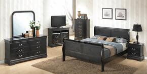 G3150AQBSET 6 PC Bedroom Set with Queen Size Sleigh Bed + Dresser + Mirror + Chest + Nightstand + Media Chest in Black Finish