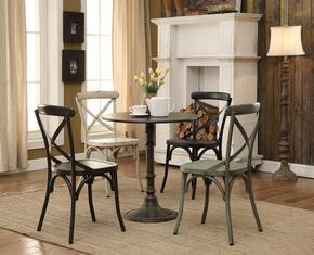 "Oswego 100063 30"" Dining Table and 4 Dining Chairs with Distressed Detailing in Antique Brown Finish"