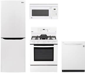 "4-Piece Kitchen Package with LBNC10551W 24"" Bottom Freezer Refrigerator, LRG3193SW 30"" Freestanding Gas Range, LMV1762SW 30"" Over the Range Microwave Oven, and LDP6797WW 24"" Built In Fully Integrated Dishwasher in White"
