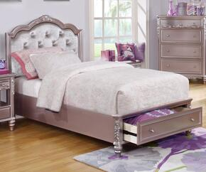 Caroline Collection 400891TSET 5 PC Bedroom Set with Twin Size Storage Bed + Dresser + Mirror + Chest + Nightstand in Metallic Lilac Finish