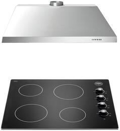 "2-Piece Stainless Steel Kitchen Package with P244CERNE 24"" Ceramic Glass Cooktop and KU24PRO1X14 24"" Canopy Hood"
