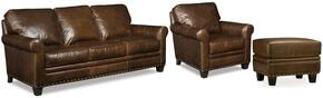 SS167 3-Piece Living Room Set with Kingston Eden Stationary Chair, Sofa and Ottoman in Dark Brown