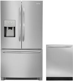 "Gallery 2-Piece Stainless Steel Kitchen Package FGHB2868TF 36"" French Door Refrigerator and FGID2466QF 24"" Fully Integrated Dishwasher"