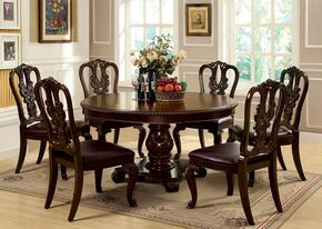 Bellagio Collection CM3319RT6WSC 7-Piece Dining Room Set with Round Dining Table and 6 Side Chairs in Brown Cherry Finish