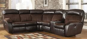 Berneen 54501SSR 2-Piece Living Room Set with Reclining Sectional Sofa and Swivel Rocker Recliner in Coffee