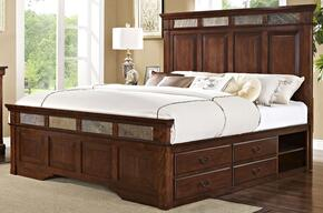 00455110120137138DMNC 5 Piece Bedroom Set with King Madera Storage Bed, Dresser, Mirror, Nightstand and Chest, in Chestnut