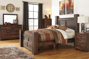 Quinden Queen Bedroom Set with Poster Storage Bed, Dresser, Mirror, Nightstand and Chest in Dark Brown Finish